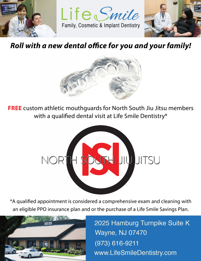 Life Smile Dentistry offers free custom mouth guards to members of North South Jiu Jitsu in Montclair, NJ!